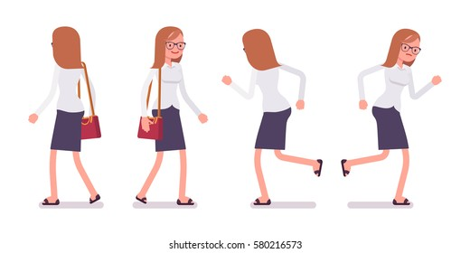 Set of young happy and unhappy female busy clerk in formal wear, walking and runnig poses, having workload, enjoying her job, full length, front and rear view isolated against white background