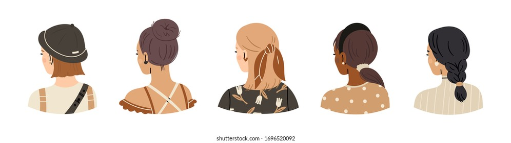 Set of young ladies with various Haircuts and accessories. Look from behind. Rear view. Women dressed in different clothes. Heads and shoulders. Beauty salon concept. Hand drawn Vector illustration