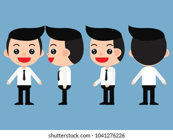 Set of young male businessman in cute cartoon style. Front, side, back, 3/4 view. isolated on a blue background,vector and illustration