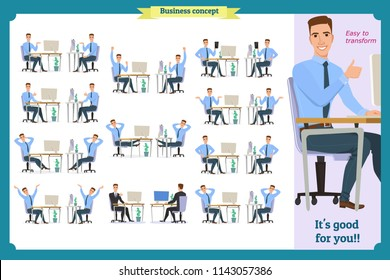 Set of young male businessman. People character with face,palm gestures,body elements.Man sitting. Body template for design work,animation.Isolated Vector on white.Business.Flat info graphic.Laughing