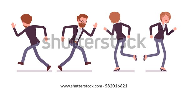 Set of young male and female manager in formal wear, running poses, busy organizing new project, searching for profit, full length, front and rear view, isolated against white background