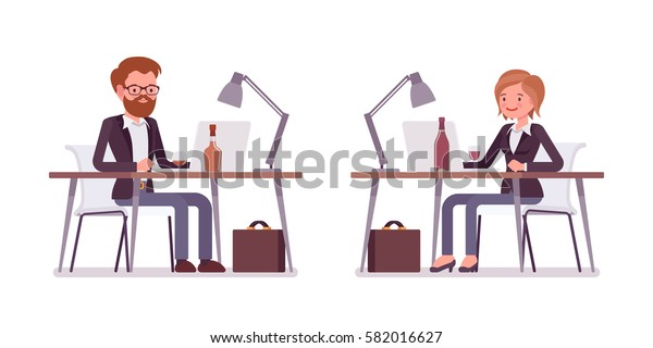 Set of young male and female manager sitting at the desk, working at the laptop, looking at screen, rear and front view, comfortable workspace, modern office, isolated against white background