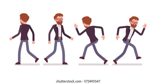Set of young male manager in formal wear, walking and running poses, busy organizing new project, searching for profit, full length, front and rear view, isolated against white background