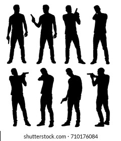 Set of young male policeman, spy or criminal holding, pointing and aiming hand gun in different poses. Easy editable layered vector illustration.