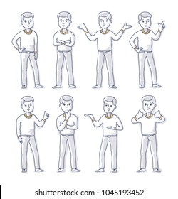 Set of young man character in casual style clothes standing in various poses. Vector freehand line doodle illustration