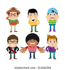 Set of young man characters in hipster fashion clothes