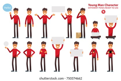 Set of a Young Man in Different Poses. Dude in Casual Clothes. Vector Character for Illustrate a Project. Mascot Holding Signs Flat Style.