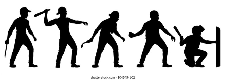 Set of young man in rioting silhouette vector