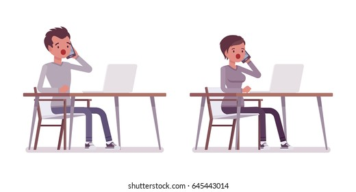 Set of young man and woman, casual dressing, sitting at the desk with laptop, working, talking on phone, puzzled, coworking space, vector flat style cartoon illustration, isolated, white background