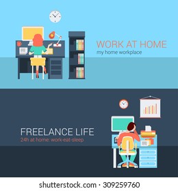 Set of young man woman home office freelance homework laptop table workplace back view. Flat people lifestyle situation work at home concept. Vector illustration collection of young creative humans.