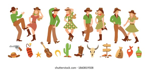 Set of young man and woman in western country clothes, boots and cowboy hats dancing in flat style. Vector illustration clip-art western clip-art. Square dance for two and country dance festival.
