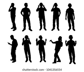 Set of young men with earphone silhouette vector