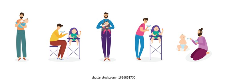 Set of young men fathers feeding their baby kids from a spoon and bottle, flat vector illustration isolated on white background. Fathers giving food their babies.