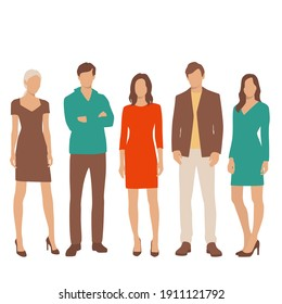 Set of young men and women, different colors, cartoon character, group of silhouettes of standing business people, students, the design concept of flat icon, isolated on white background