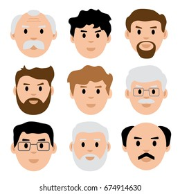 Set of young and old men face icons. Vector illustration