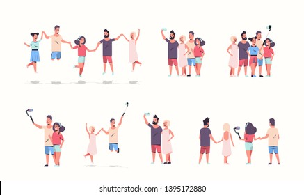 set young people group using selfie stick men women taking photo on smartphone camera friends having fun male female cartoon characters collection full length flat white background horizontal