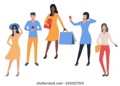 Set of young people shopping. Man and women making purchases. Vector illustration for placard, advertisement, presentation