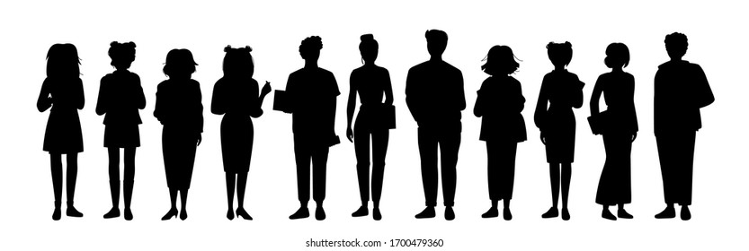 Set young people student black flat silhouette set. Monochrome group man womans casual clothes laptop, smartphone. Different nations representatives, gadgets in hand. Isolated vector illustration