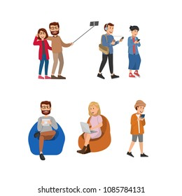 Set of Young People Using Gadget on Daily Activity, Selfie Together. Flat Vector Illustration