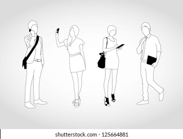 set of young people using smart devices