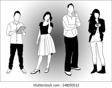 set of young people using smart phones and devices