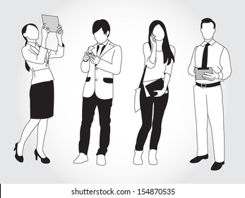 set of young people using smart phone and devices