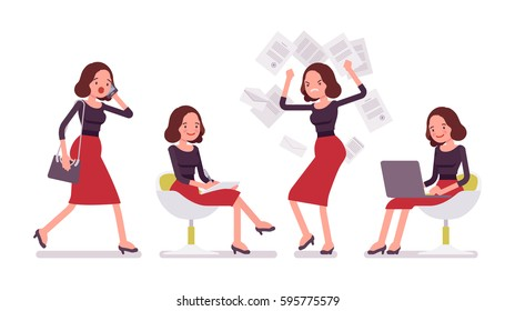 Set of young secretary, personal assistant, carrying administrative duties, walking, sitting, stamping feet with anger, working with laptop and documents, office scenes, full length, white background