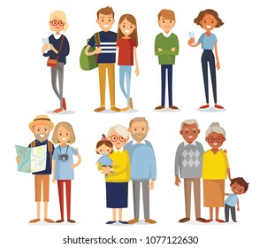 Set of young and senior people. Social networking people. Traveling people. Senior couples.