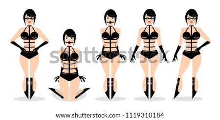 Set Of Young Sexy Women In Modern Bondage Clothes Design Element For Poster Banner