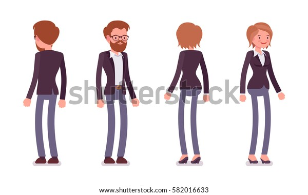 Set of young smiling male and female manager in formal wear, colleagues and coworkers in the office, standing poses, full length, front and rear view, isolated against white background