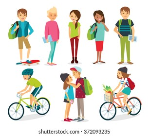 set of young style people, students, people with bike