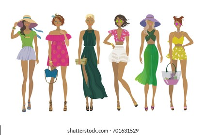 Set of young stylish girls. Fashion models. Summer trendy outfits. Vector isolated eps10 illustration