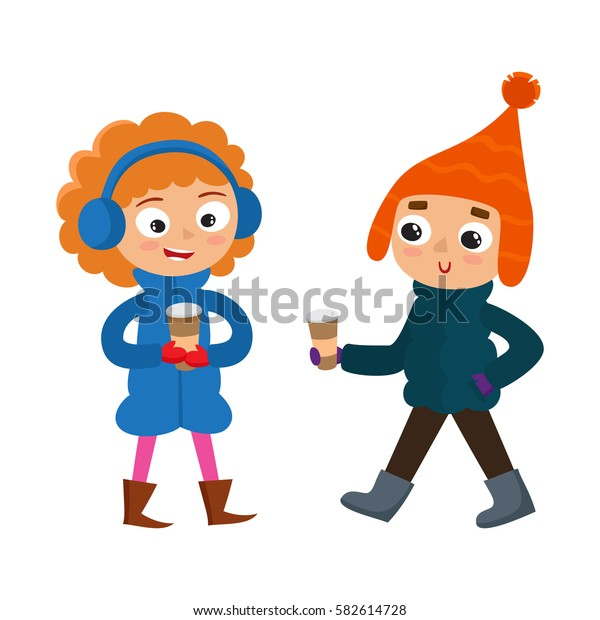 Set of young teenage in winter clothes with coffee, boy and girl isolated on white. Vector illustration of hipster boys in cartoon style.