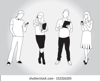 set of young trendy people using smart phones and devices