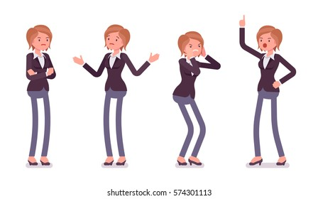 Set of young unhappy female manager in formal wear, showing negative emotions, lack of funding, bad business decision, crisis, crossed hands, aggressive, full length, isolated against white background