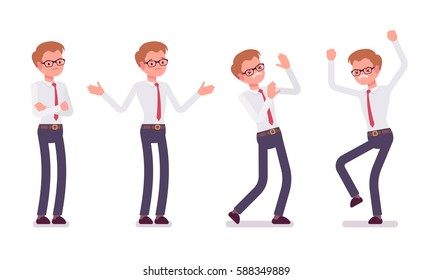 Set of young unhappy male clerk in smart formal wear, showing negative emotions, puzzled worker, troubled with deadline, crossed hands, stamping feet, full length, isolated against white background