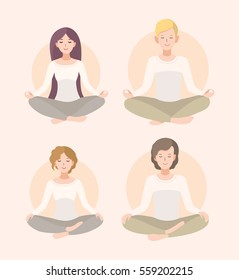 Set young woman and man meditating in lotus pose and crossed legs . Relaxation, isolated people illustration.