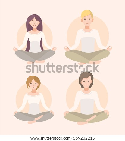 set young woman man meditating lotus stock vector royalty
