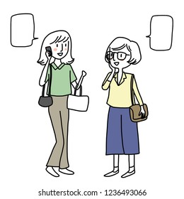Set of young woman talking on the phone. Cheerful women talking on the phone. Two female friends calling each other asking where they are then they meeting up. Word bubbles included. Hand-drawn vector
