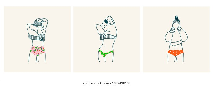 Set of young women in colorful panties. Lady Putting on or taking off a sweater. Clothes with Various prints. Hand drawn vector fashion illustration. All elements are isolated