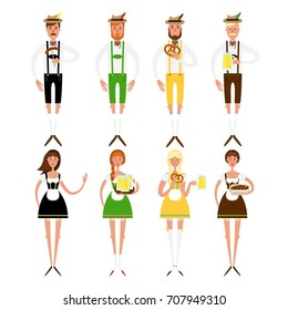 Set of young women and men at Octoberfest. Vector flat styled characters in fancy costumes - pretty girls and bearded boys. Great for restaurant menu, banner, party invitation card design.