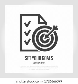 Set your business or educational goals. Thin line icon. List of achievements and dartboard with arrow in the center. Targeting, strategy. Vector illustration.