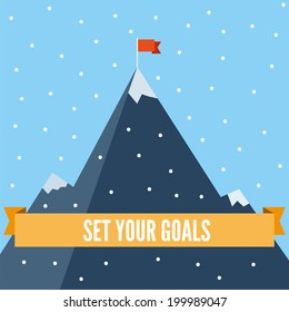 Set your goals flat illustration. Motivating business flat illustration, goals and achievements, climbing high mountain, orange ribbon with plain text, flag on the mountain peak, winning strategy.