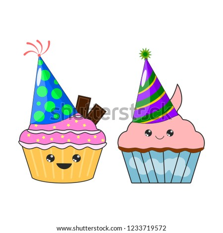 Set Of Yummy Kawaii Cake Muffin Sticker With Party Birthday Hat Isolated On White Background
