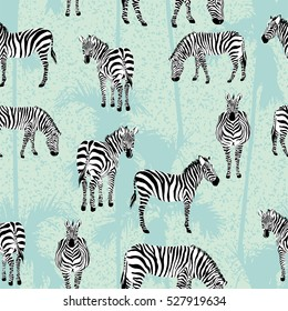 Set of zebra blue palm background pattern seamless