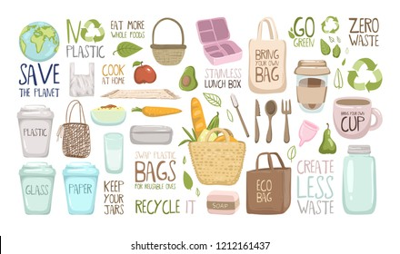 Set of zero waste elements and lettering. Zero waste vector eluustration EPS 10. Go green, eco style, no plastic, save the planet and other