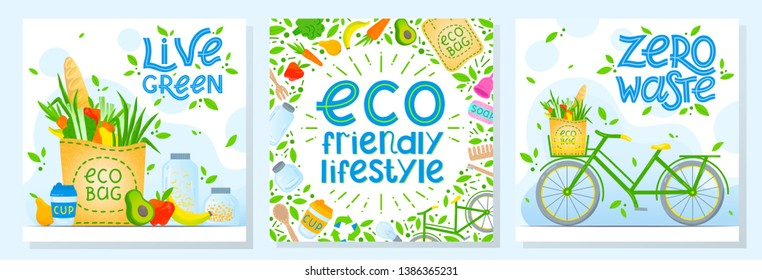 Set of zero waste vector illustrations with lettering.Healthy lifestyle principals.Perfect for prints,flyers,banners,eco posters,covers,typography design and more.Live green, go to zero waste.