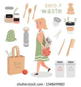 Set zero waste. Young cute girl comes with a string bag. Eco-friendly lifestyle, say no to plastic! Sorting garbage, wood, metal, glass, menstrual Cup. Vector illustration isolated on white.