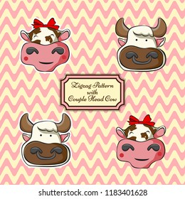 set of zig zag pettern and head of couple cow. women and man. cute stiker.