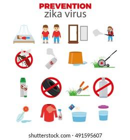 Set of Zika virus prevention graphic design, Vector illustration